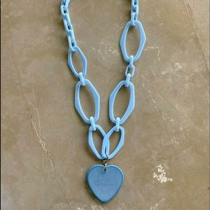 Beautiful enamel long necklace with a heart